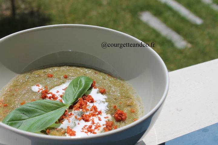 Soupe Froide courgette/tomate/crème decoco